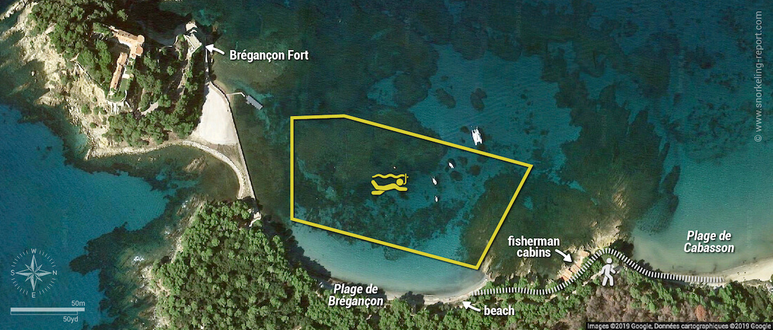 Bregançon Beach snorkeling map