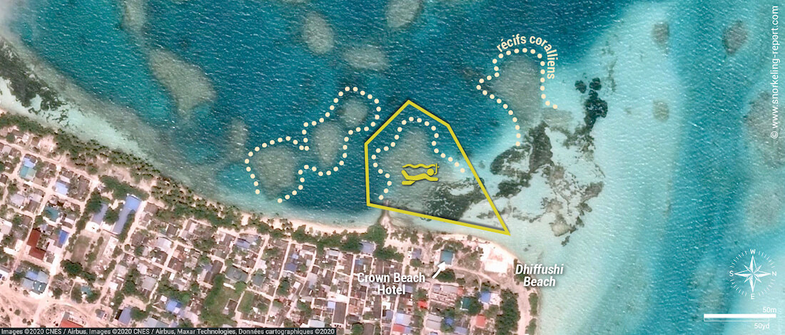 Carte snorkeling à Dhiffushi