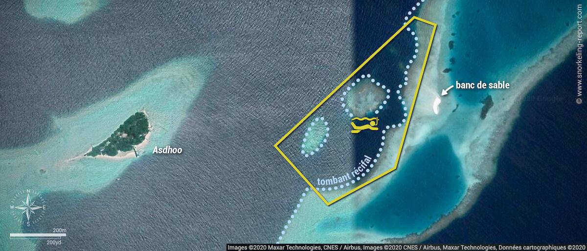 Carte snorkeling à Maabadhi Finolhu