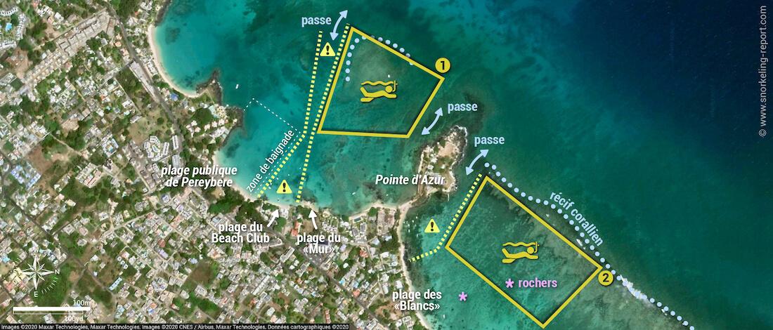 Carte snorkeling à la plage de Pereybere