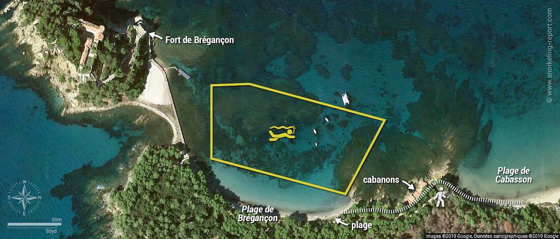 Carte snorkeling à la plage du Fort de Brégançon