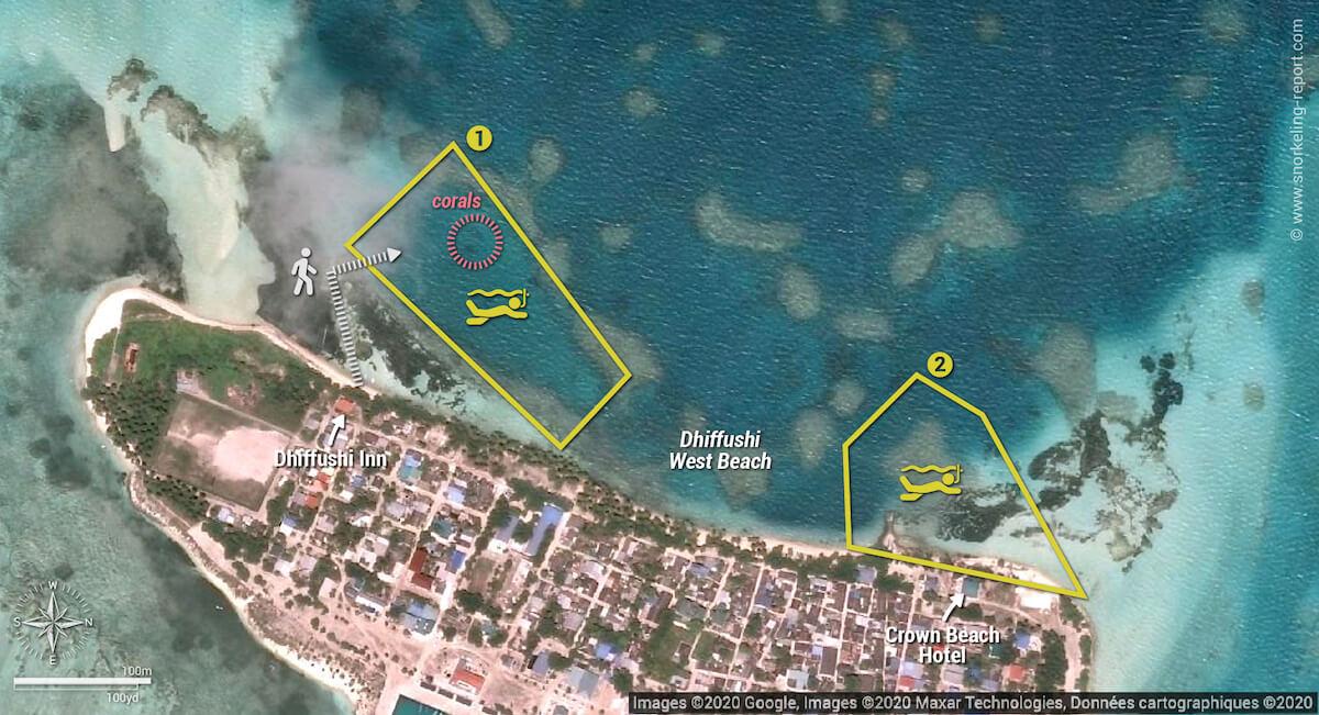Dhiffushi Beach snorkeling map