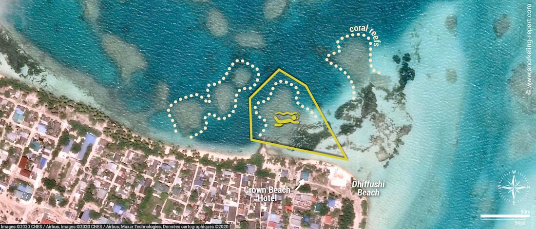 Dhiffushi snorkeling map
