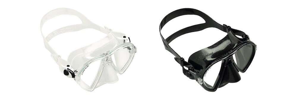 Clear or black skirt snorkeling mask
