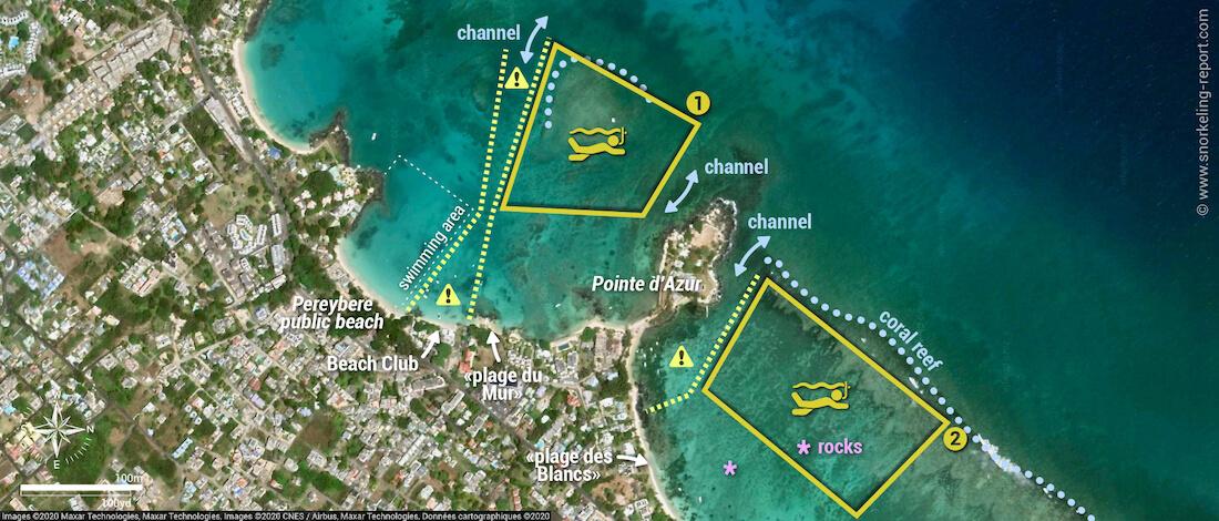 Pereybere Grand Baie snorkeling map
