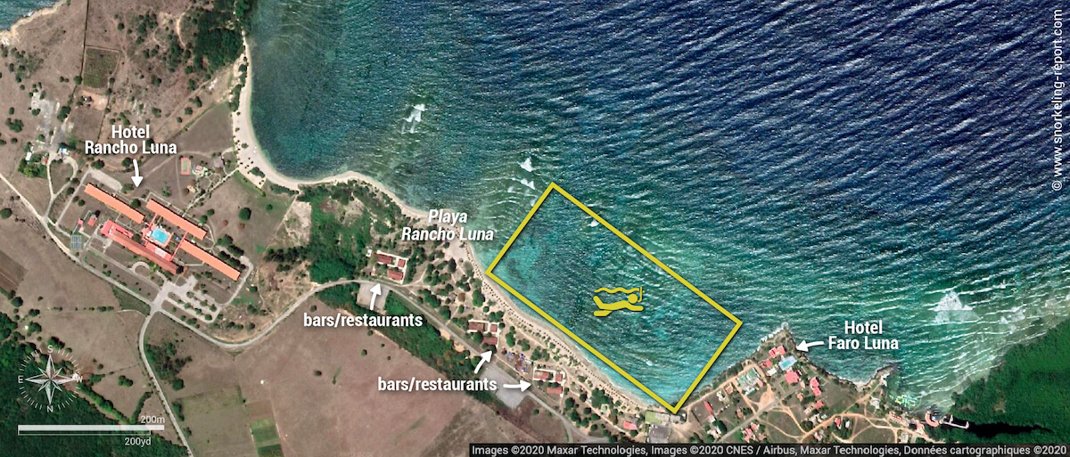 Playa Rancho Luna snorkeling map