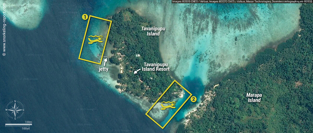 Tavanipupu Island snorkeling areas map
