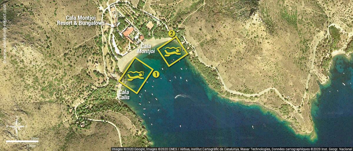 Cala Montjoi snorkeling map