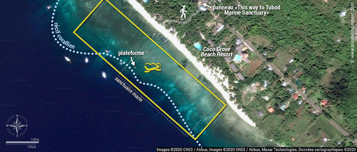 Carte snorkeling au Tubod Marine Sanctuary - Coco Grove