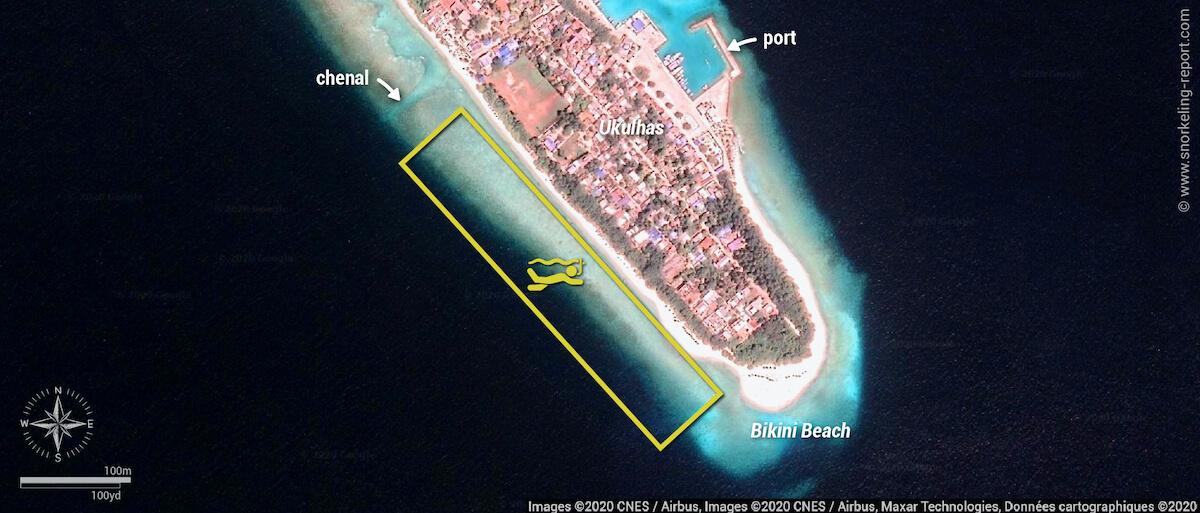 Carte snorkeling à Ukulhas, Maldives