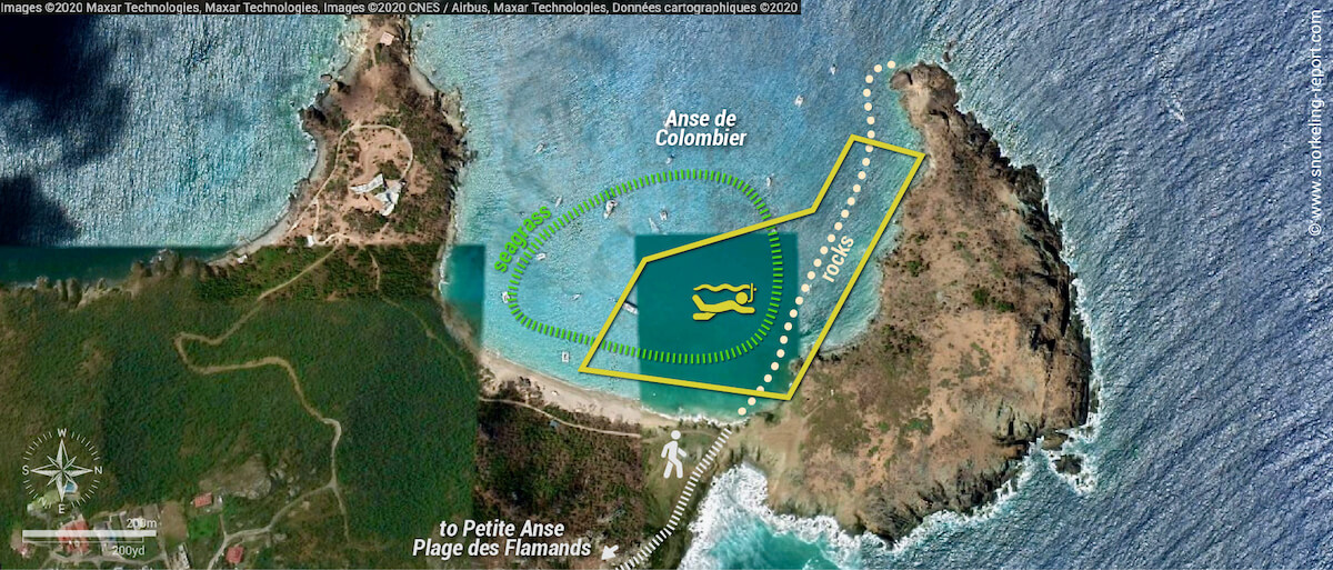 Anse Colombier Beach snorkeling area map