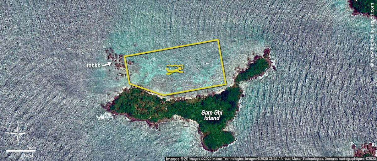 Gam Ghi Island snorkeling map