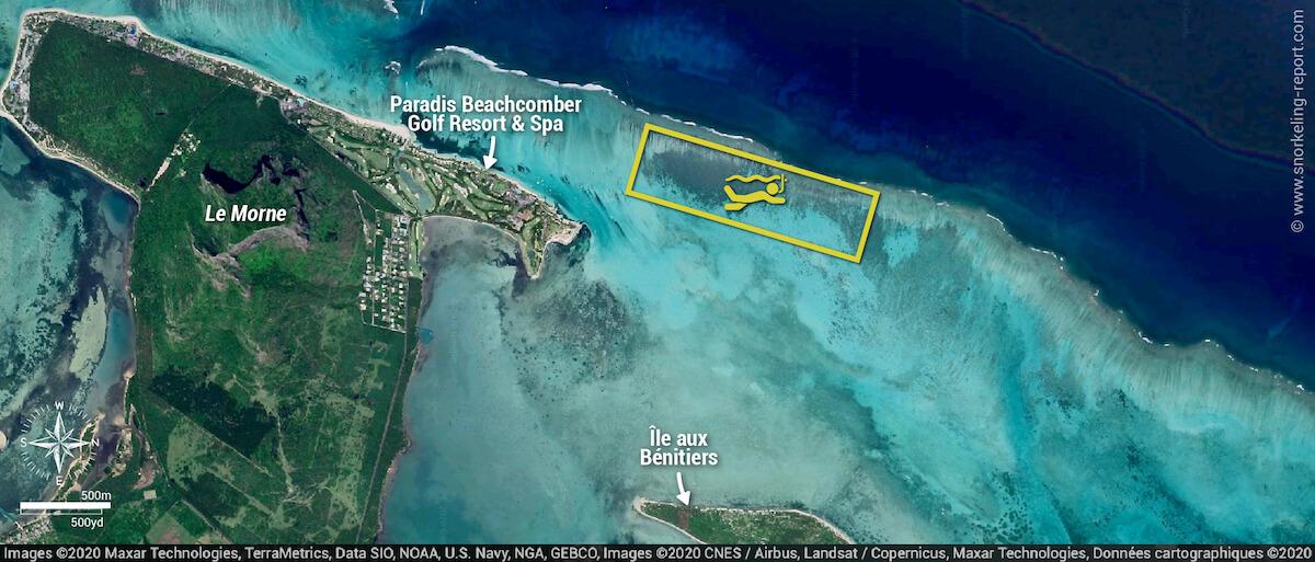 Ile aux Bénitiers snorkeling map