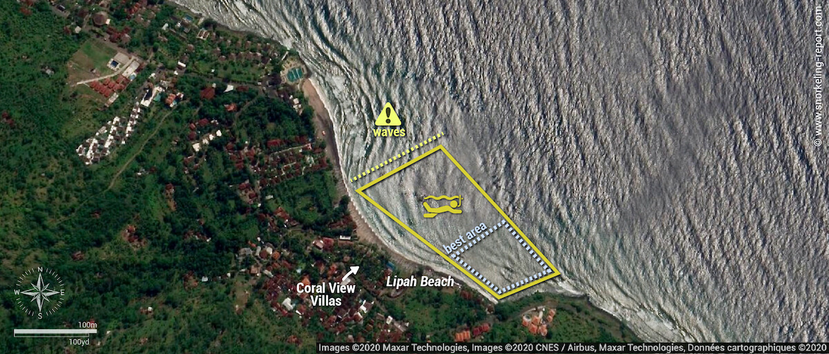 Lipah Beach snorkeling map, Amed