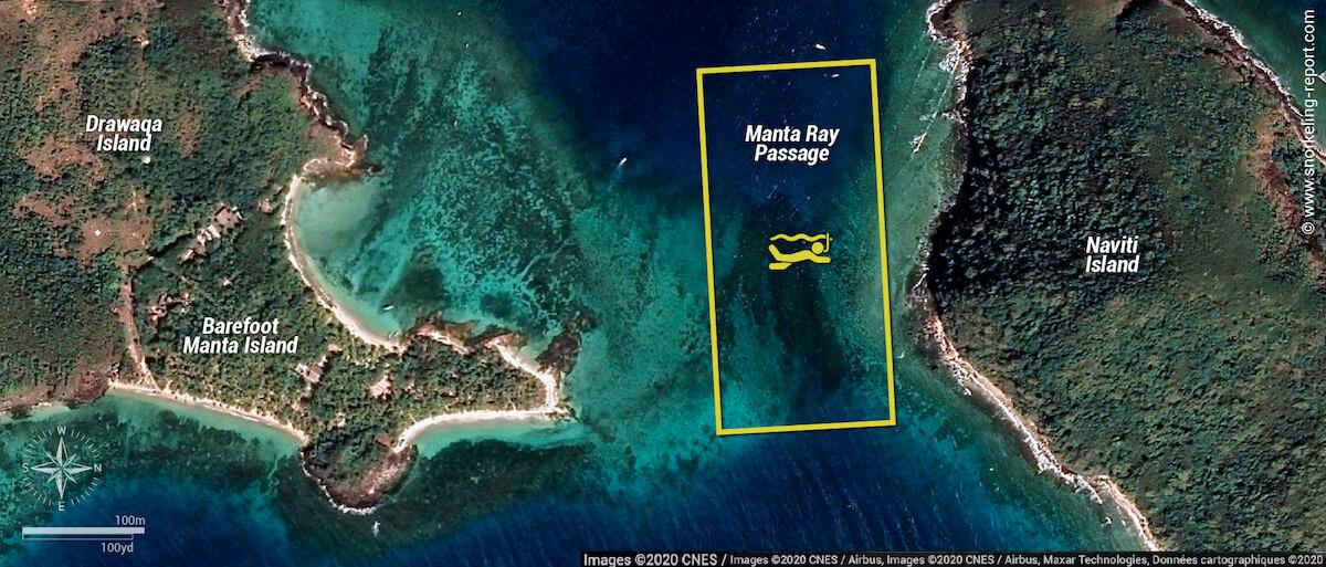 Manta Ray Passage snorkeling map, Fiji