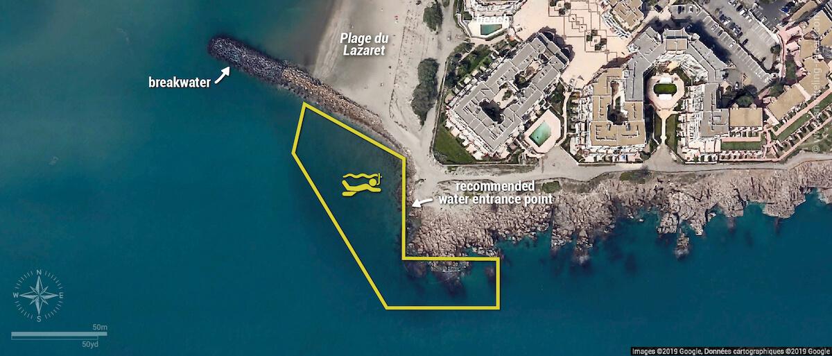 Plage du Lazaret snorkeling map, Sete