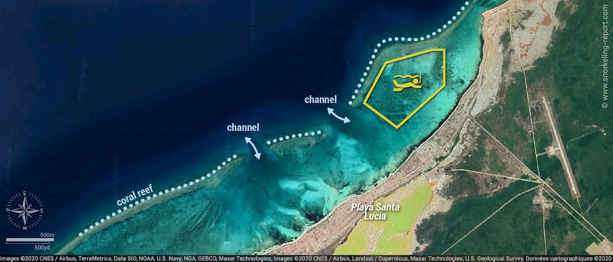 Playa Santa Lucia snorkeling map, Cuba