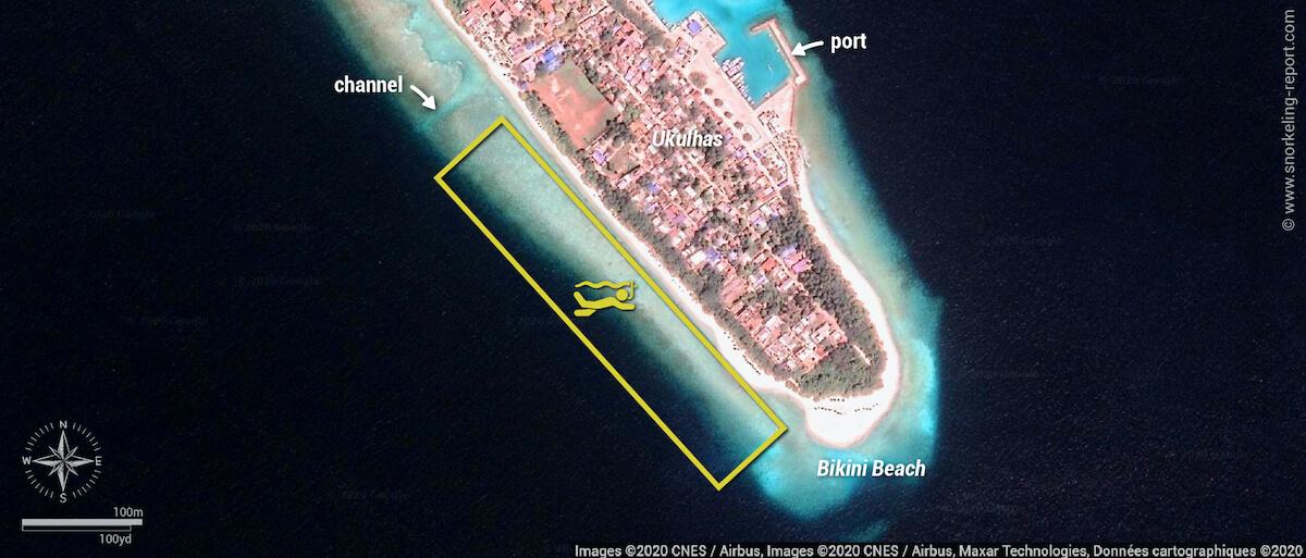 Ukulhas Island snorkeling map, Ari Atoll