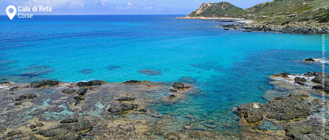 Vue sur la zone de snorkeling de Cala di Reta, Ajaccio