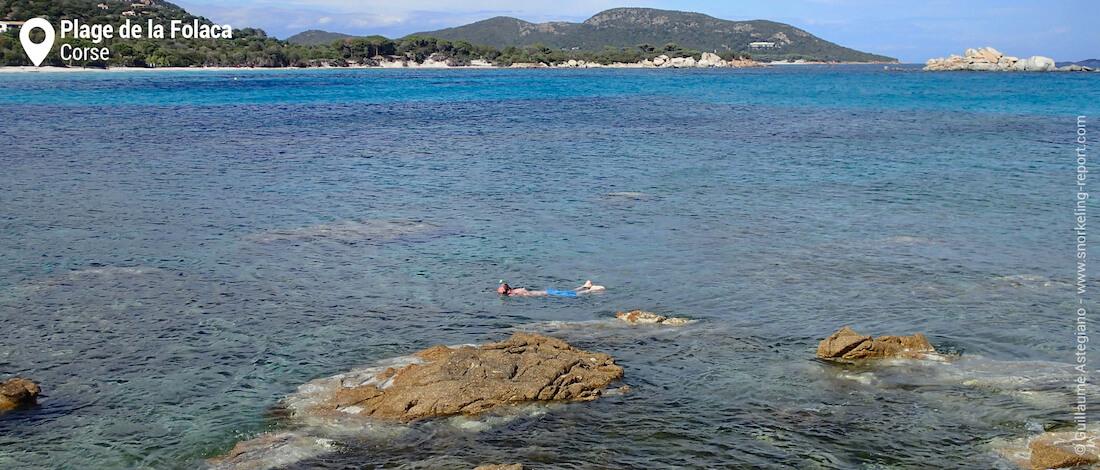Snorkeler à la plage de la Folaca