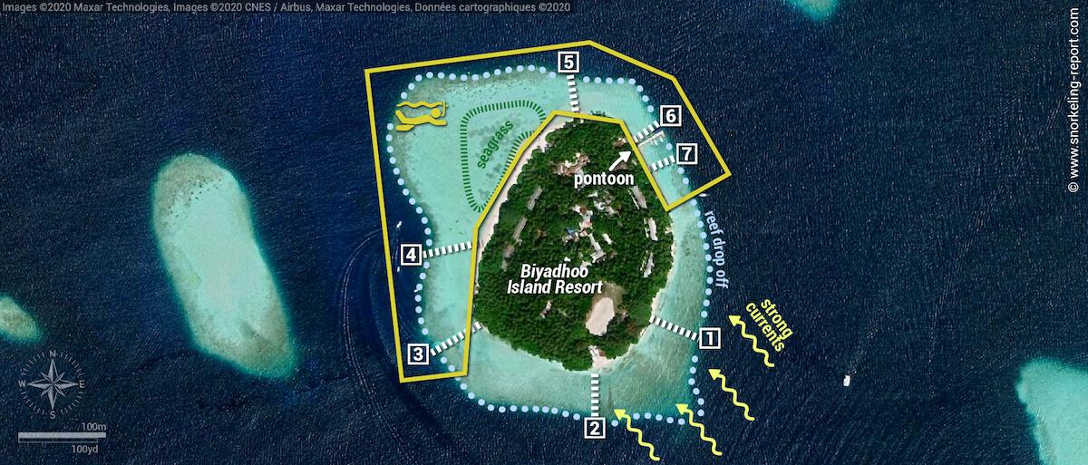 Biyadhoo Island snorkeling map