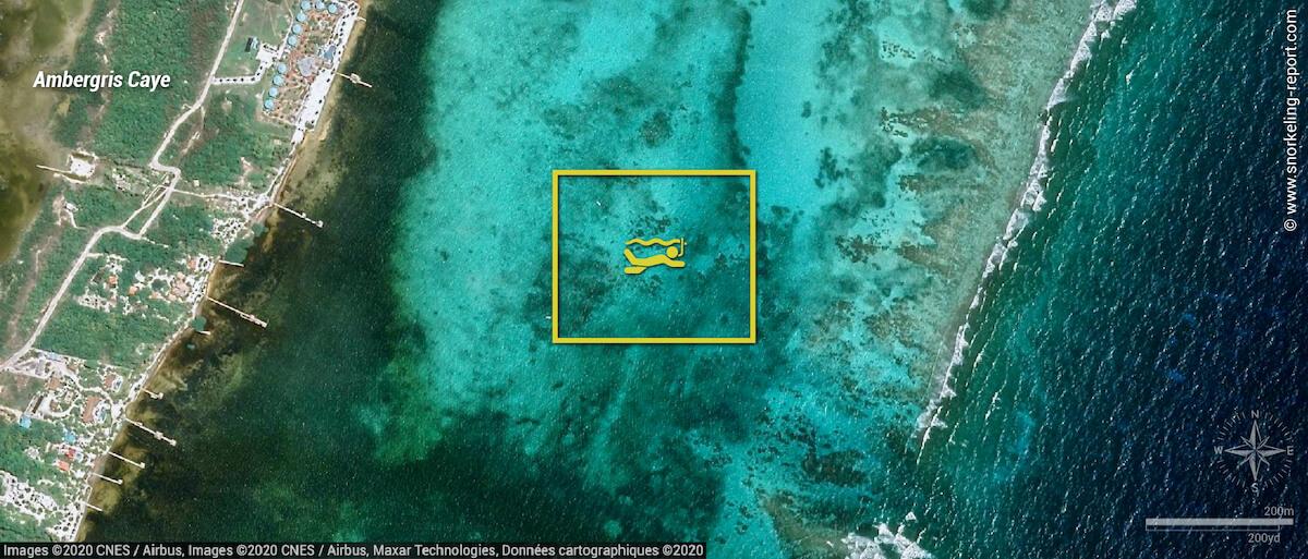 Carte snorkeling à Mexico Rocks, Belize
