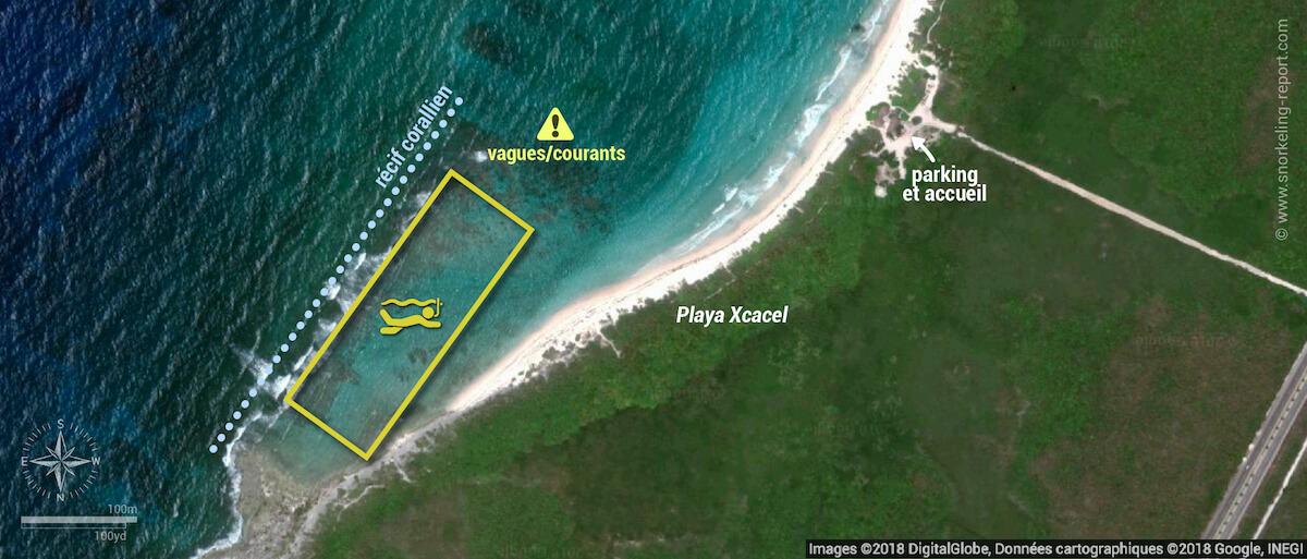 Carte snorkeling à Xcacel