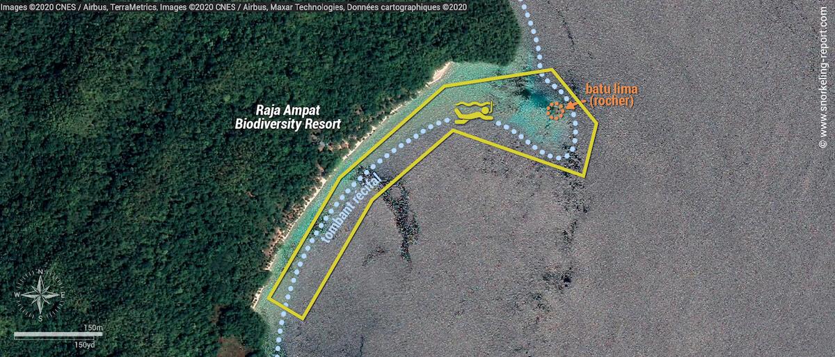 Carte snorkeling au Raja Ampat Biodiversity Resort