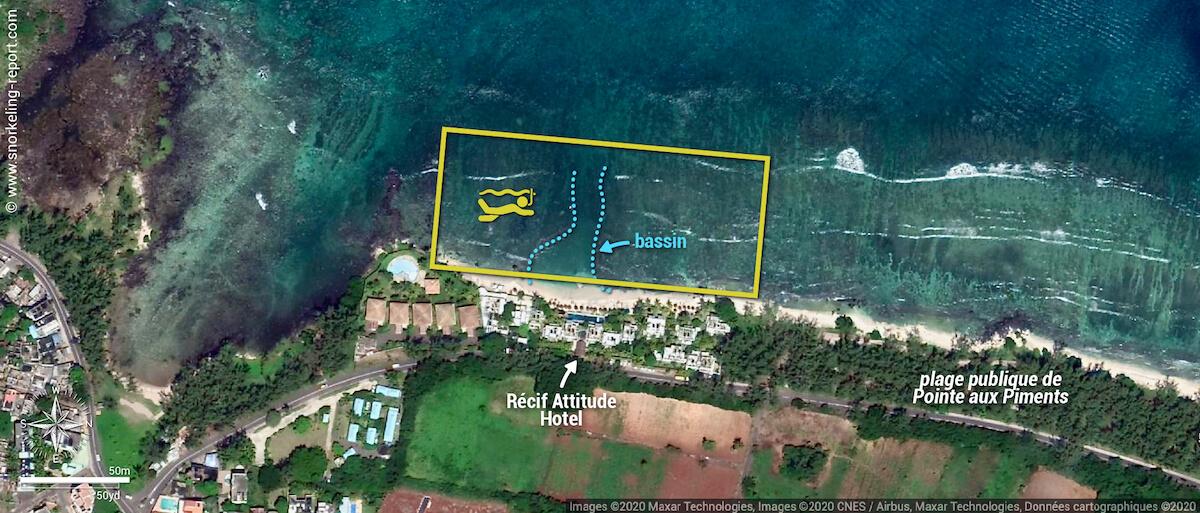 Carte snorkeling au Récif Attitude Hotel