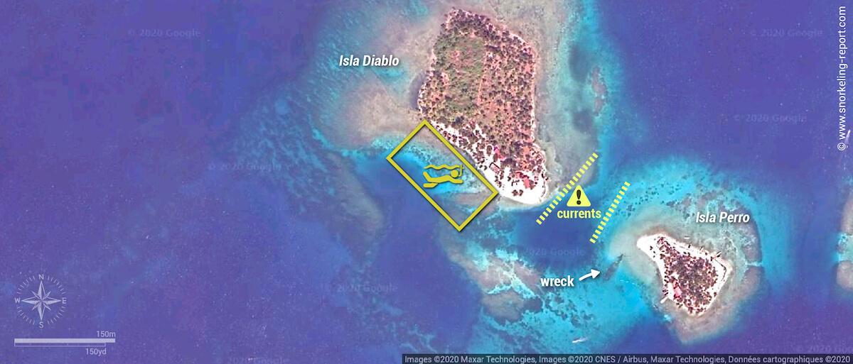 Isla Diablo snorkeling map