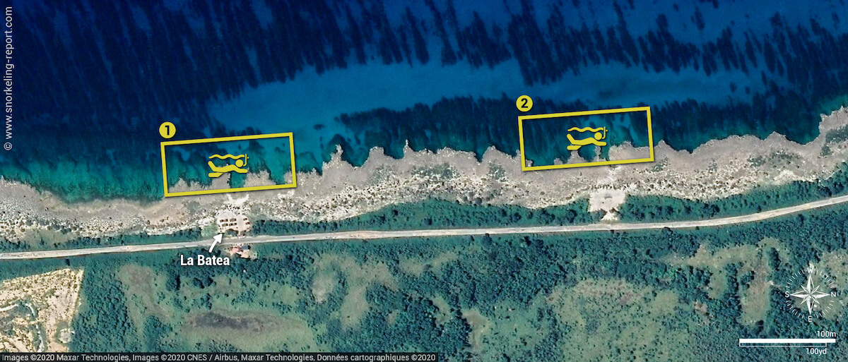 La Batea snorkeling map, Cuba