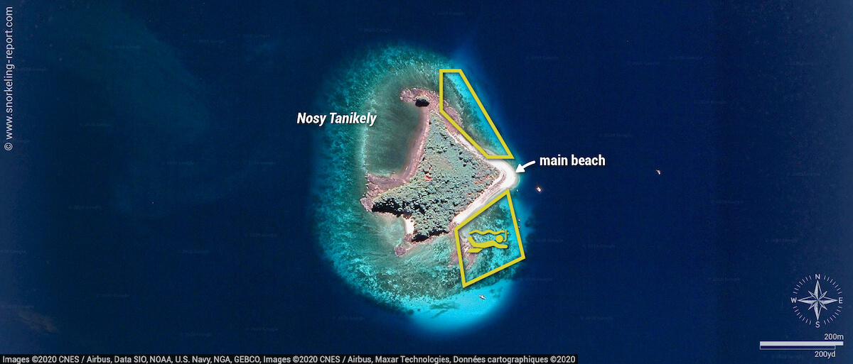 Nosy Tanikely snorkeling map