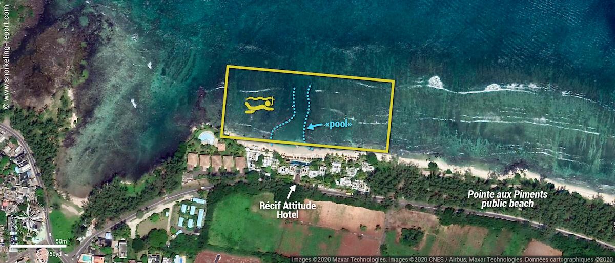 Recif Attitude Hotel snorkeling map