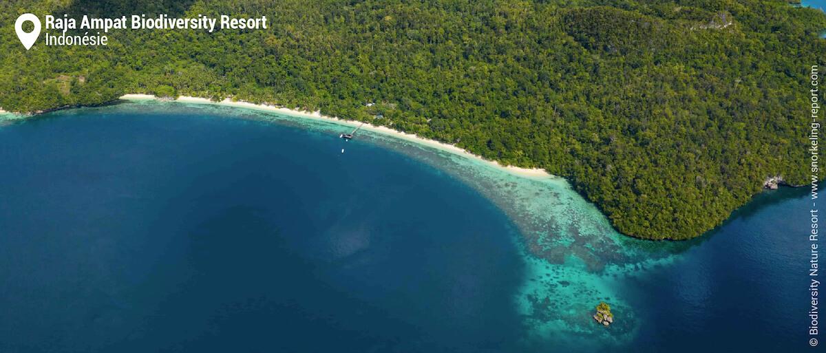 Vue aérienne du récif du Raja Ampat Biodiversity Resort