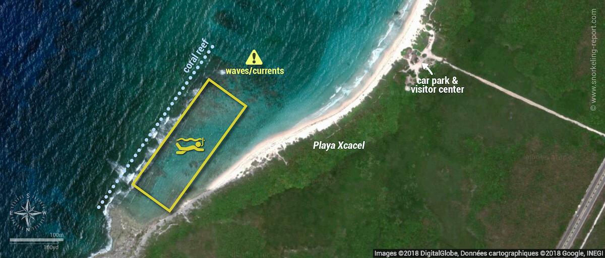 Xcacel Beach snorkeling map