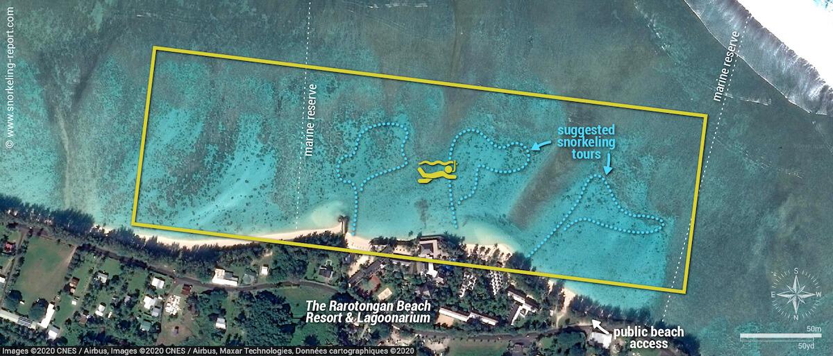 Aroa Marine Reserve snorkeling map