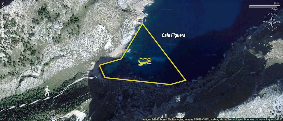 Carte snorkeling à Cala Figuera, Majorque