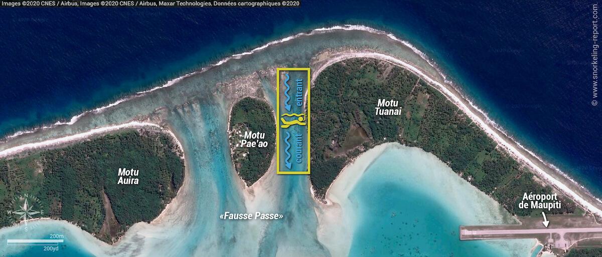 Carte snorkeling à la Fausse Passe de Maupiti