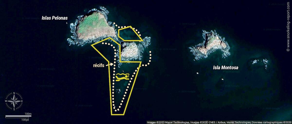 Carte snorkeling aux Islas Pelonas