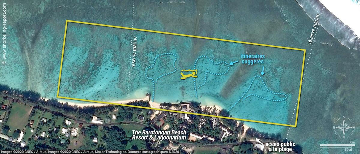 Carte snorkeling à la plage d'Aroa, Rarotonga