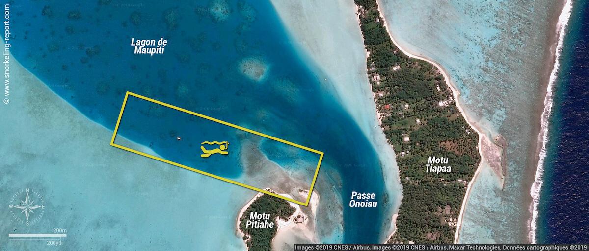 Carte snorkeling à la station des raies manta de Maupiti