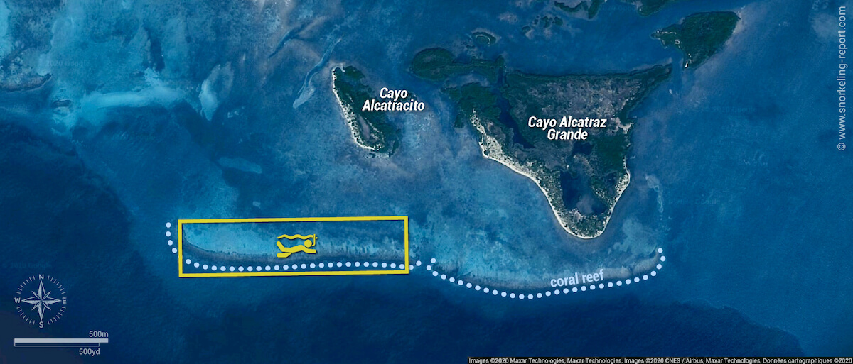 Cayo Alcatracito snorkeling map