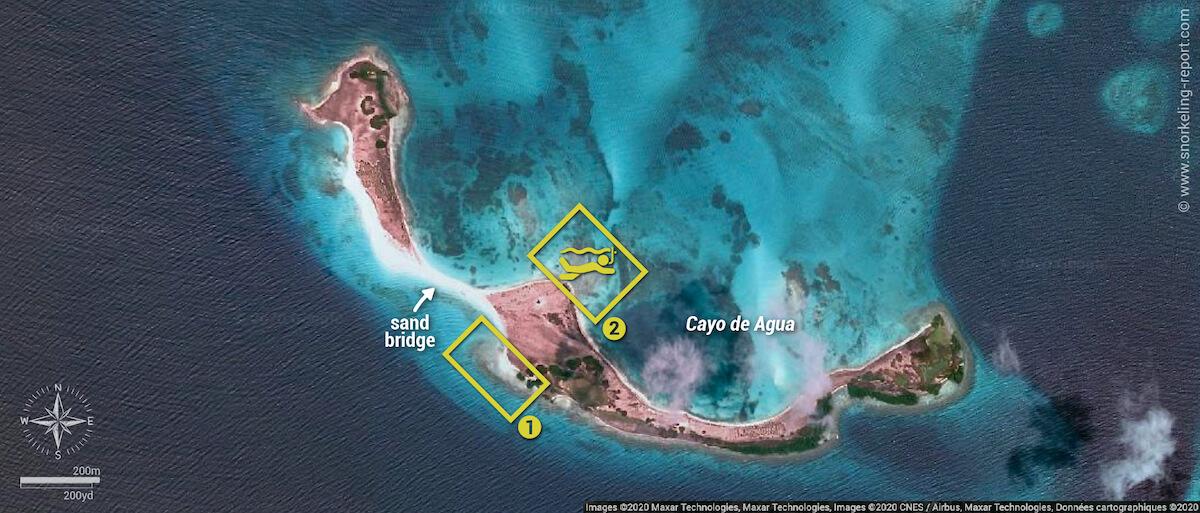 Cayo de Agua snorkeling map