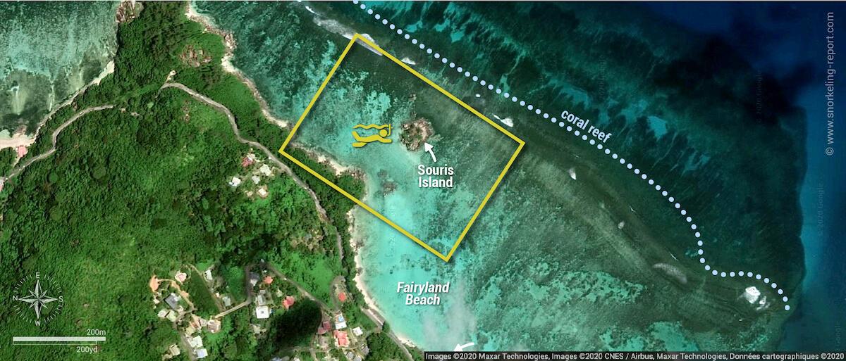 Fairyland Beach, Anse Royale snorkeling map