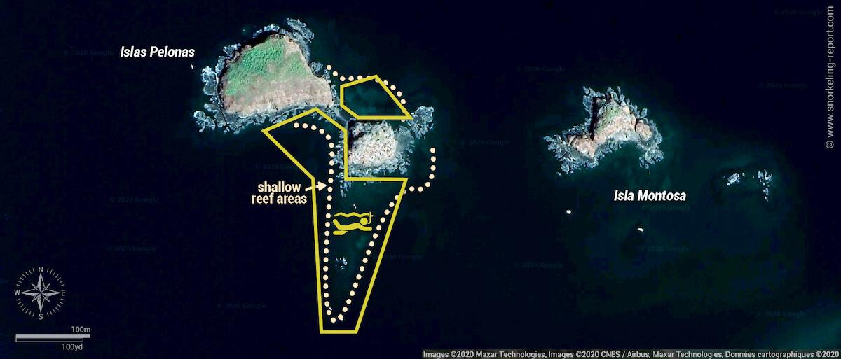 Islas Pelonas snorkeling map