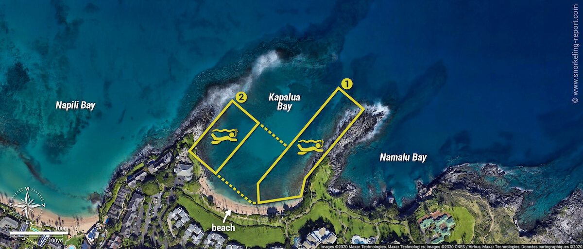 Kapalua Bay snorkeling map, Maui