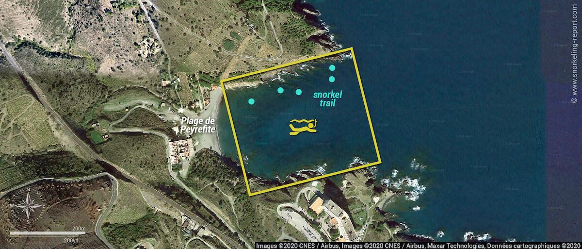 Peyrefite beach snorkel trail map
