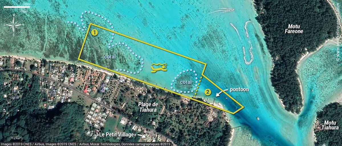 Tiahura beach snorkeling map, Moorea