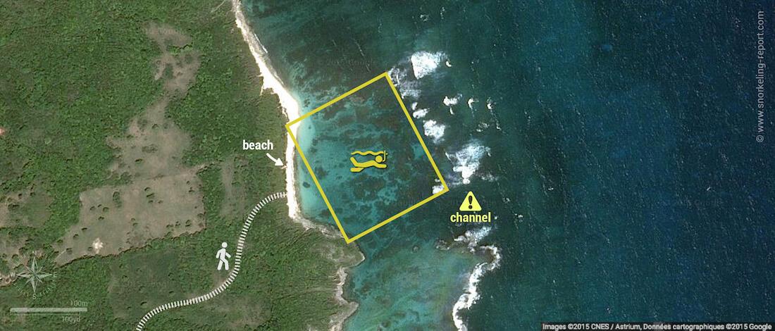 Anse Feuillard snorkeling map, Marie Galante