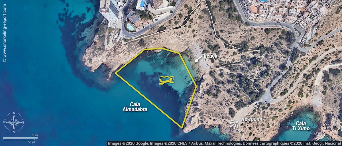 Cala Almadabra snorkeling map, Benidorm